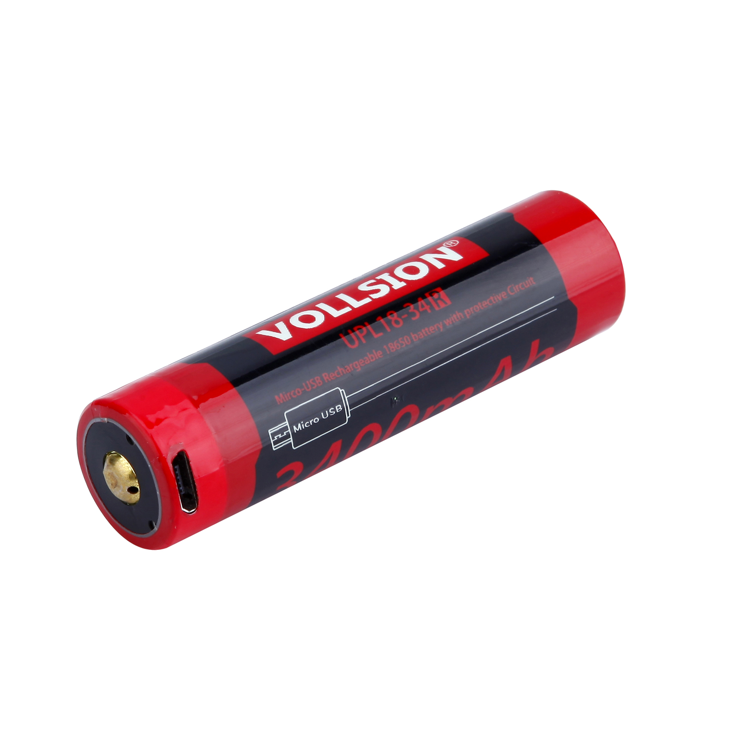 UPL18-34R Built in Mirco-USB charge 3400mAH 18650 battery with protective Circuit